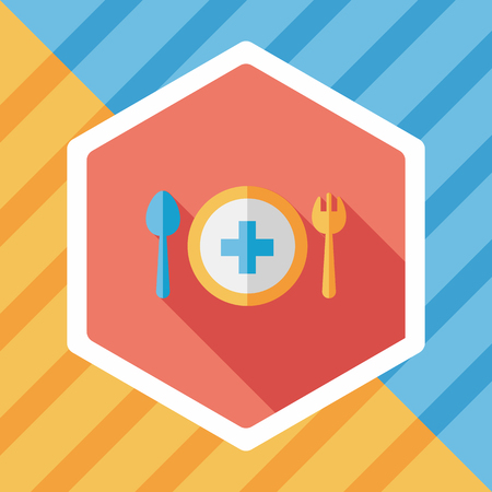 silver ware: eat health flat icon with long shadow