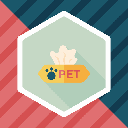 sniffles: Pet style tissue case flat icon with long shadow,eps10