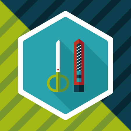 retractable: Scissors and paper knife flat icon with long shadow,eps10