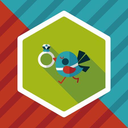 lovebirds: wedding bird with diamond ring flat icon with long shadow,eps10 Illustration