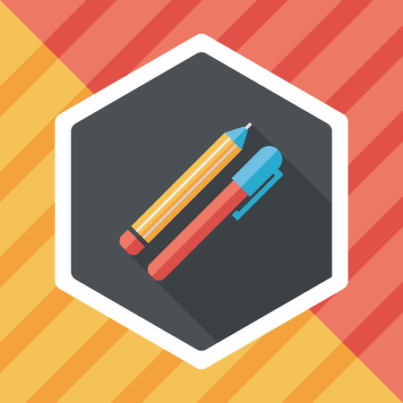 sharpened: Pencil and pen flat icon with long shadow,eps10 Illustration