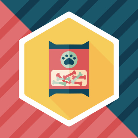 food package: Pet dog food package flat icon with long shadow,eps10 Illustration