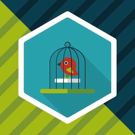 habitats: Pet bird cage flat icon with long shadow, eps10
