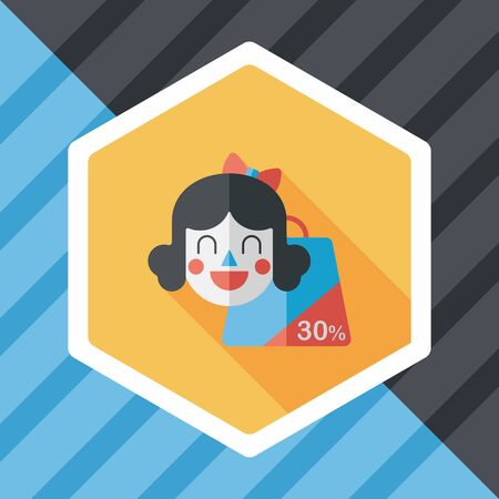 happy shopper: SALE Shopaholic flat icon with long shadow,eps10 Illustration