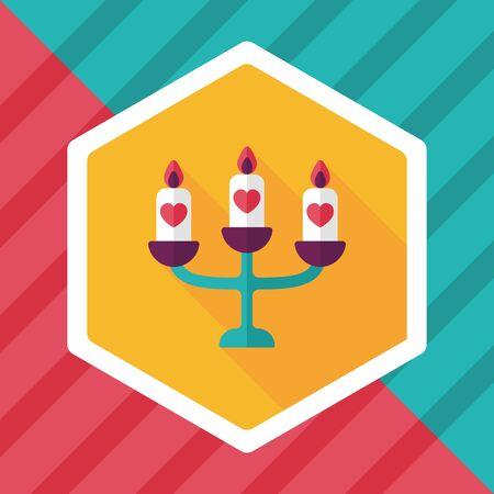 candleholder: wedding candle holder flat icon with long shadow,eps10 Illustration