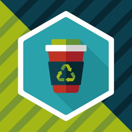 recycled water: Environmental protection concept flat icon with long shadow,eps10; Recycled water bottle