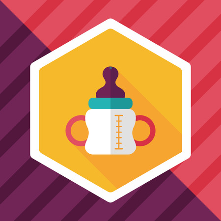 to reassure: Baby bottle flat icon with long shadow,eps10 Illustration