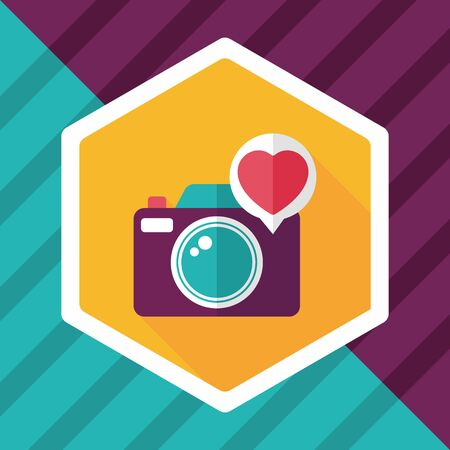 photo icon: Valentines Day photo camera flat icon with long shadow,eps10