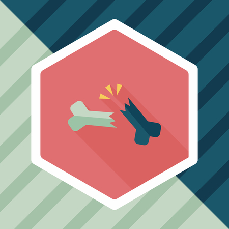 fracture: bone fracture flat icon with long shadow Illustration