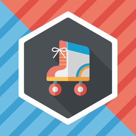 rollerblades: Roller skates flat icon with long shadow Illustration