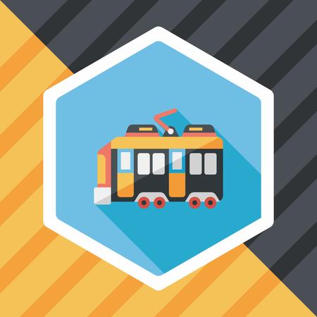 roadway: Transportation train flat icon with long shadow Illustration