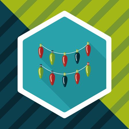 snow chain: Christmas light flat icon with long shadow