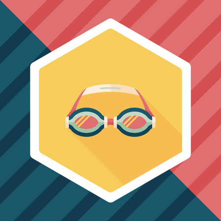 swimming goggles: swimming goggles flat icon with long shadow Illustration