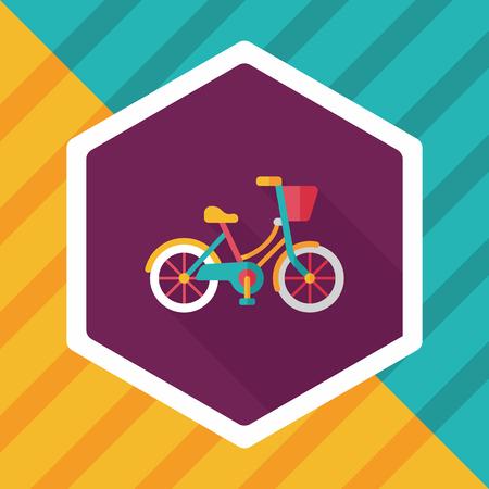 Icono plana bicicleta Transporte con larga sombra Foto de archivo - 57573025