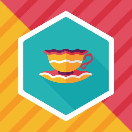 lliquid: coffee cup flat icon with long shadow