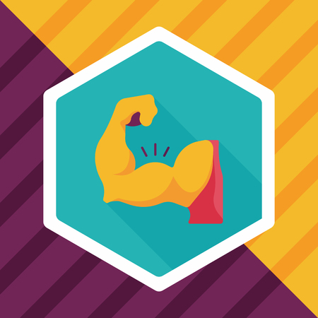 muscle gain: muscle man flat icon with long shadow
