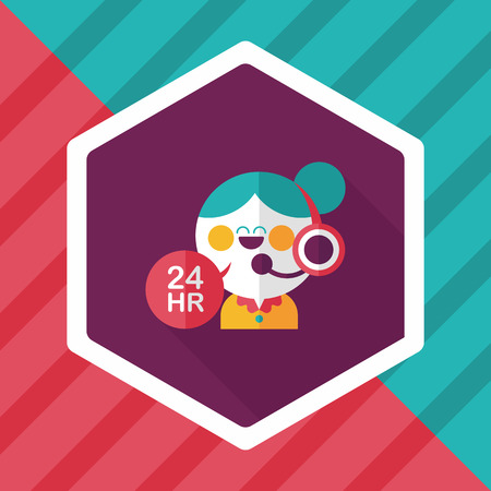 phone service: 24 hours customer phone service flat icon with long shadow