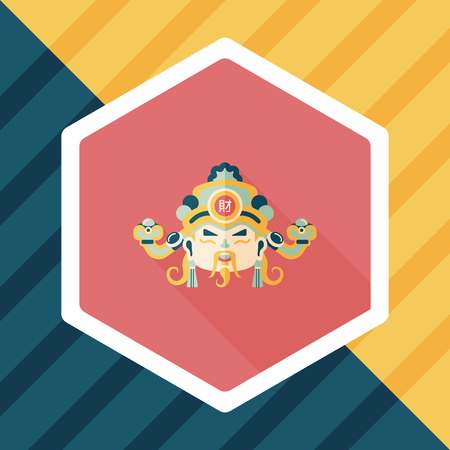 god of wealth chinese new year: Chinese New Year flat icon with long shadow,  God of wealth
