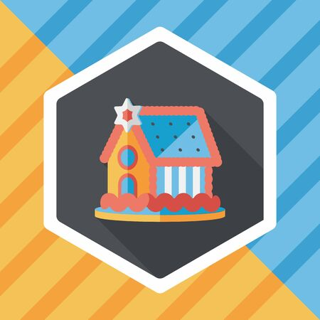 gingerbread house: Gingerbread house flat icon with long shadow