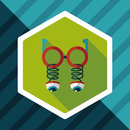 joke glasses: Halloween toy flat icon with long shadow Illustration
