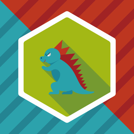 ascendant: Dinosaur flat icon with long shadow Illustration