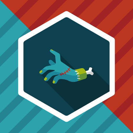 dangle: Halloween zombie hand flat icon with long shadow Illustration