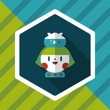 fishbowl: Pet fish and girl friendship flat icon with long shadow