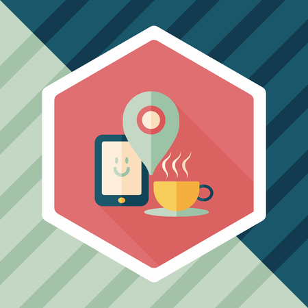 lliquid: coffee flat icon with long shadow, When you go to coffee shop, you can check into places and click the like button on social network. Illustration