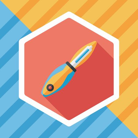 cutouts: kitchenware fruit knife flat icon with long shadow Illustration