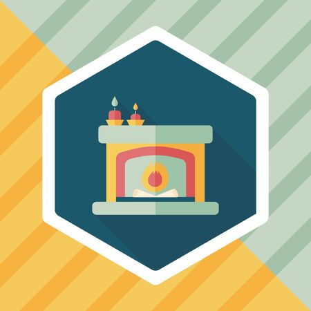 fireplace christmas: Christmas fireplace flat icon with long shadow Illustration