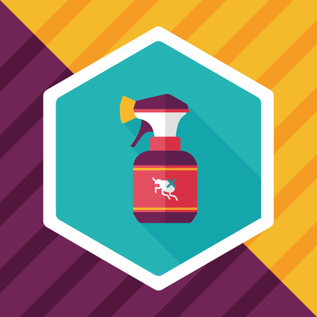 drug control: Pet flea spray flat icon with long shadow Illustration