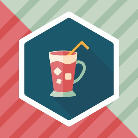 frozen drink: iced drink flat icon with long shadow