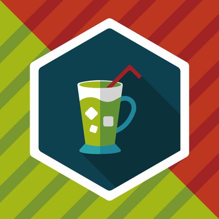 iced: iced drink flat icon with long shadow