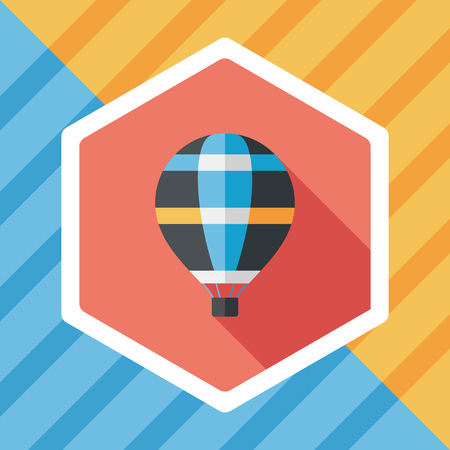 hot air: Transportation hot air ballon flat icon with long shadow