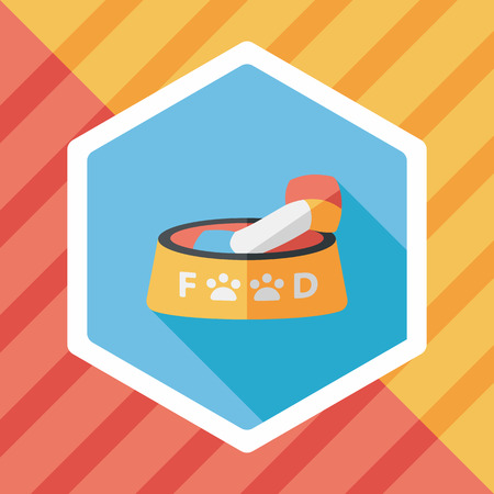 animal feed: Pet dog food flat icon with long shadow