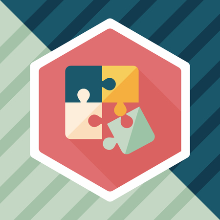 puzzle shadow: Puzzle flat icon with long shadow Illustration