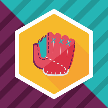 pincher: baseball glove flat icon with long shadow