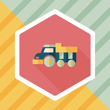 dozer: Dump truck flat icon with long shadow