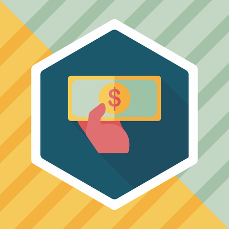 bill of exchange: shopping money cash flat icon with long shadow