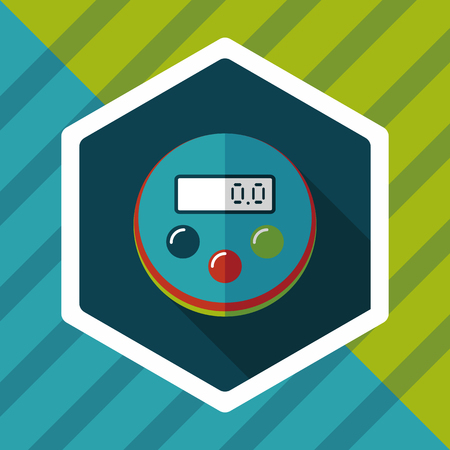 estimation: kitchenware timer flat icon with long shadow