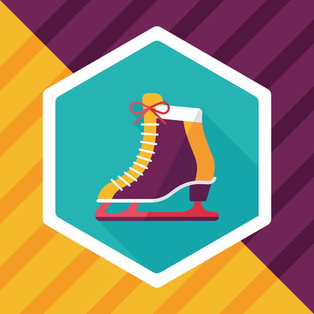 shoelaces: ice skate flat icon with long shadow