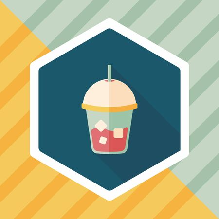 iced: iced drink flat icon with long shadow,eps10 Illustration