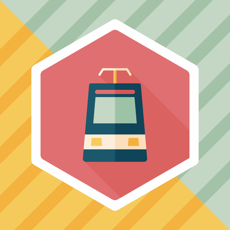 high speed rail: speed train flat icon with long shadow