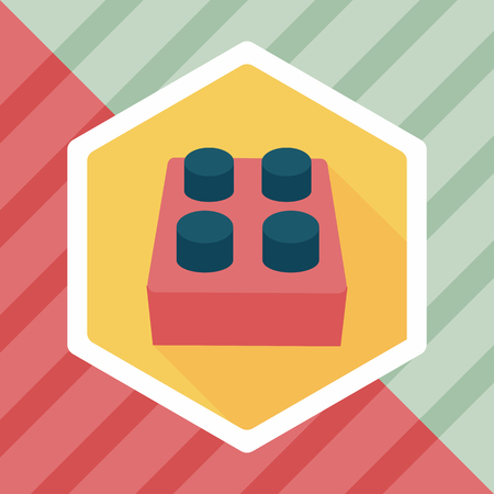 connection block: bricks toy flat icon with long shadow Illustration