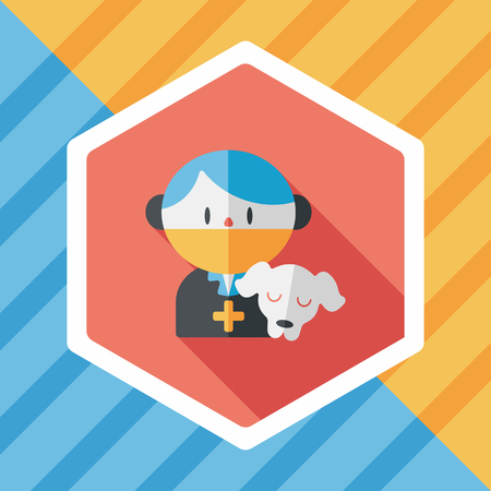 doggie: Pet vet and dog flat icon with long shadow Illustration