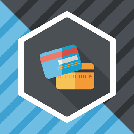 commercial painting: credit card flat icon with long shadow