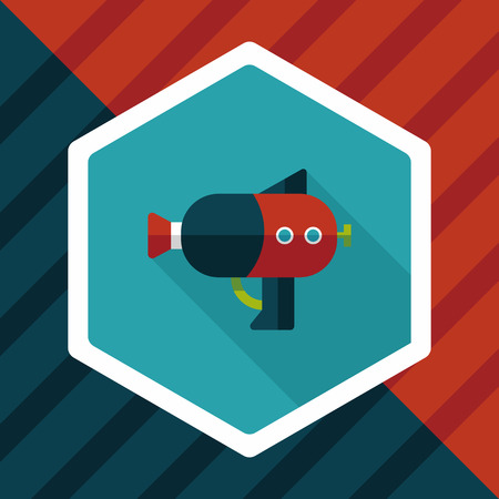 squirt: Water Gun flat icon with long shadow