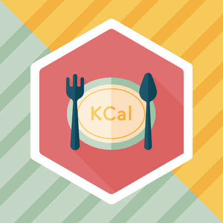 calories: calories diet flat icon with long shadow