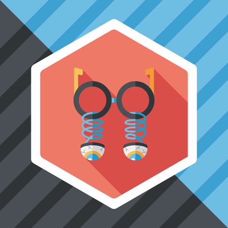 joke glasses: Halloween toy flat icon with long shadow Illustration
