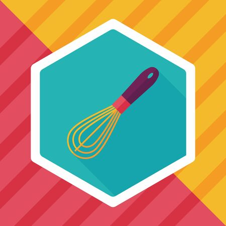 wire whisk: kitchenware beater flat icon with long shadow Illustration